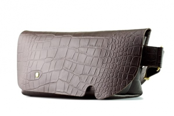 MESSENGER BAG (S)/CROCO PATTERN BROWN