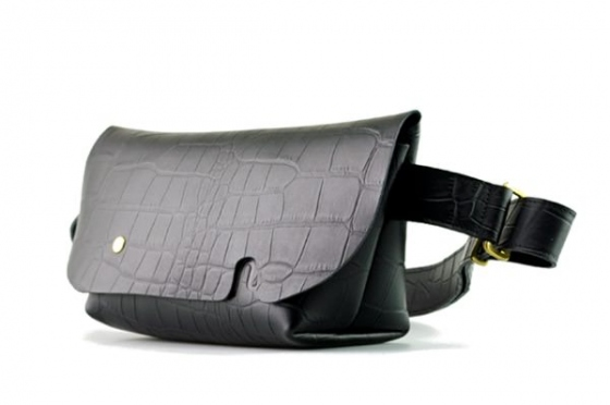 MESSENGER BAG (XS)/CROCO PATTERN BLACK-FAS