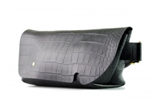 MESSENGER BAG (S)/CROCO PATTERN BLACK-FAS