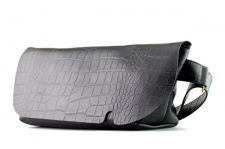 MESSENGER BAG (M)/CROCO PATTERN BLACK-FAS
