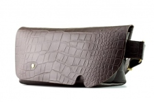 MESSENGER BAG (S)/CROCO PATTERN BROWN-FAS