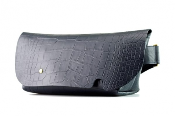 MESSENGER BAG (S)/CROCO PATTERN NAVY-FAS